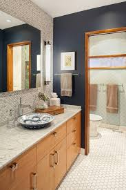 navy bathroom transitional with mosaic tiles damp wet listed
