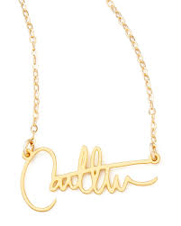 personalized gold necklace name brevity custom signature necklace neiman
