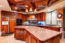 modern kitchen with cherry wood cabinets luxury kitchen design stock photo image now