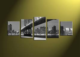 city home decor 5 piece grey bridge city black and white group canvas