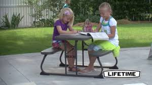 Little Tikes Fold And Store Picnic Table Manual by Lifetime 60133 Kids Brown Plastic 4 Child Picnic Table Youtube