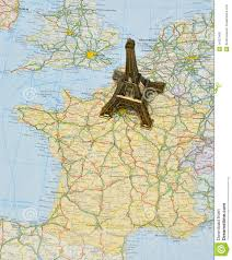 Maps Of Paris France by Paris On France Map With Miniature Eiffel Tower Royalty Free Stock