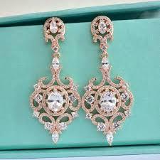 wedding earrings chandelier gold deco wedding earrings cz chandelier