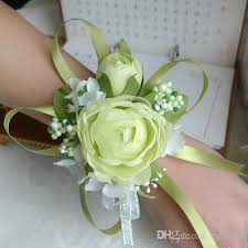 Cheap Corsages For Prom Wedding Prom Wrist Corsage Silk Rose Flower With Ribbons White