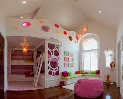 glaring pendant lights in girls room decor pink bean bag sofa