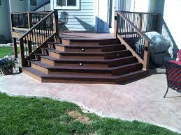 low profile deck ideas splayed composite deck stairs onto stamped