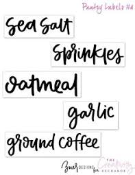Kitchen Storage Labels - free printable clear hand lettered pantry labels the creativity