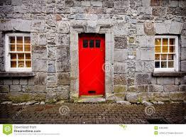 Red Door Red Door Stone House Stock Photos Image 32894083