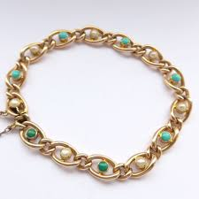 turquoise pearls bracelet images Fine antique 15ct gold bracelet set with turquoise pearls c 1905 jpg