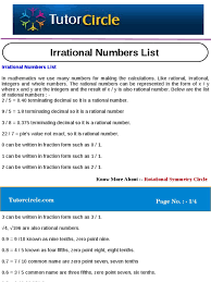 Rational Or Irrational Numbers Worksheet Irrational Numbers List Rational Number Fraction Mathematics