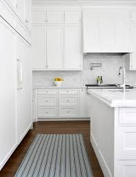 Striped Kitchen Rug Blue Striped Rug With All White Kitchen Transitional Kitchen