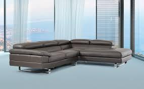 Gray Leather Sectional Sofas Violetta Italian Modern Grey Leather Sectional Sofa