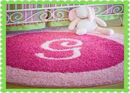 Pink Rug Nursery Initial Rugs Add Initial Or Monogram To Custom Shag Baby Area