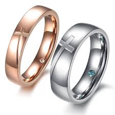 cross engraved rings matching couples promise rings engraving