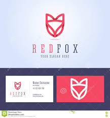 red fox logo and business card template stock vector image