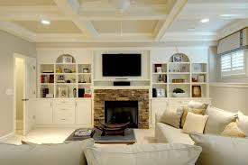 Fireplace Side Cabinets by Stone Fireplace With Cabinet Living Room Tropical With Polka Dot