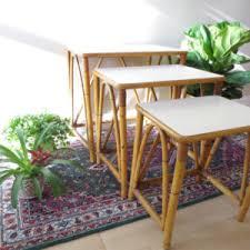vintage rattan nesting tables three rattan tables etsy