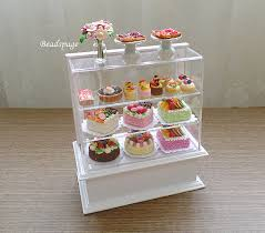 Muffin Display Cabinet Miniature Bakery Set Pastries Display Cabinet For