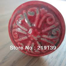 Decorative Kitchen Cabinet Knobs by 1pc Red Porcelain Retro Wine Carved Morning Glory Decorative