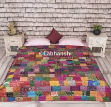 Bed Quilts Online India Patola Silk Patch Work Kantha Quilt Indian Sari Quilt Printed