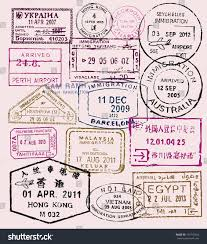 Travel Theme Vector Color Passport Stamps Travel Theme Stock Vector 161915834