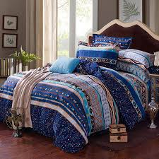 Tribal Print Bedding Egyptian Blue White And Yellow Stripe And Bohemian Tribal Print