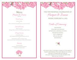vow renewal program templates free vow renewal invitation suite pink roses wedding renewal