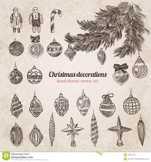 christmas tree decorations set handdrawn style template stock