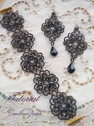 lace necklace patterns images Black lace jewelry pdf tatting pattern tamara set earrings and jpg