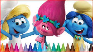 coloring smurfs lost village trolls movie coloring pages
