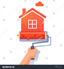 Painting Home by New House Symbol Metaphor Roller Paint Stock Vector 381413437
