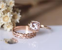 gold and morganite ring 3pcs ring set princess cut 14k gold morganite ring set