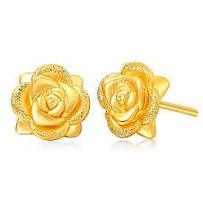 yellow gold earrings real solid 24k yellow gold earrings women s flower stud