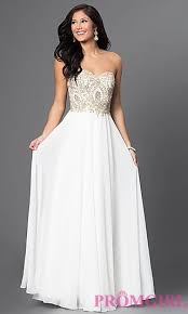 white dresses sweetheart beaded chiffon prom dress promgirl