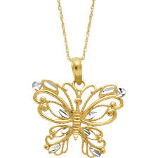 butterfly pendant necklace gold images 10k two tone diamond cut butterfly pendant gold necklaces jpg