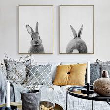 rabbit home decor kawaii rabbit tail canvas painting nursery wall art animal poster