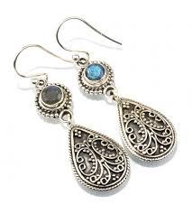 silver earring shape bezel labradorite 925 sterling silver earring