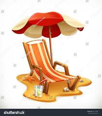 Beach Lounge Chair Umbrella Beach Umbrella Lounge Chair 3d Vector Stock Vector 607172999