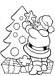 santa claus coloring pages decorating christmas tree coloringstar