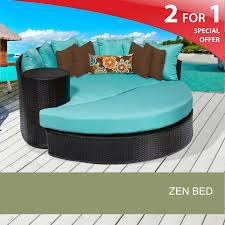 tkc zen circular sun bed outdoor wicker patio furniture wheat