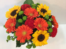 gerbera bouquet orange yellow and green bright bouquet flower wholesalers takapuna