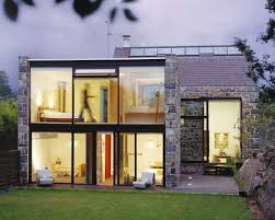 small retro wooden house using full glass entry door with top