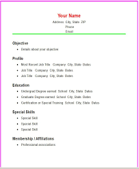 Free Basic Resume Template Cosy Exle Of A Simple Resume 12 Basic Resume Template 51 Free