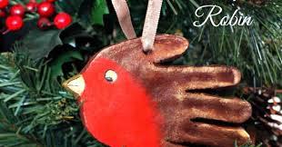 handprint robin ornament