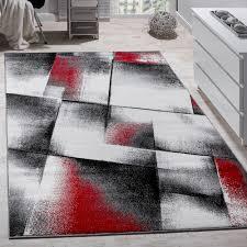 teppiche wohnzimmer wohnzimmer teppich kurzflor rot grau design teppiche