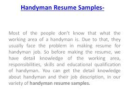 How To Write Job Profile In Resume by 15 Handyman Job Description For Resume Resume Sample 20