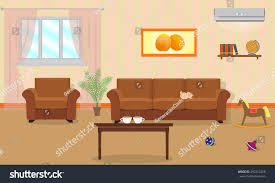 Orange Livingroom by Living Room Interior Orange Colors Including Stock Vector