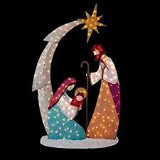Outdoor Lighted Christmas Star Decoration by Amazon Com Knlstore 6ft Tall Christmas Lighted Nativity Scene
