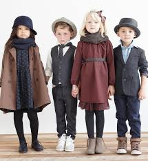 girl s blue dress and brown coat maroon dress boy s vest and