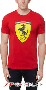 ferrari clothing puma 762139 01 ferrari big shield mens t shirt red yellow at